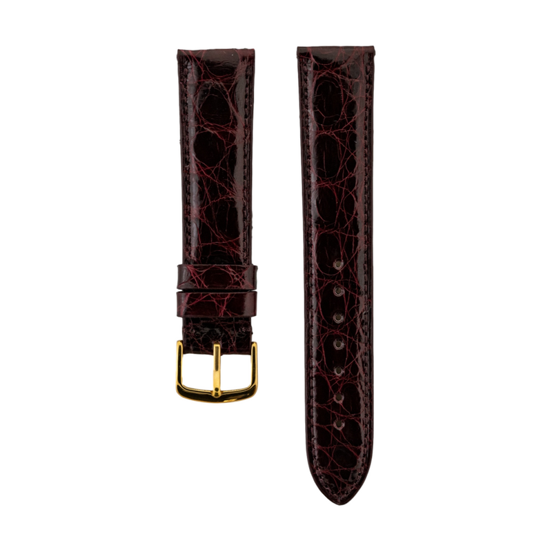 Genuine Burgundy Caiman Crocodile Strap Gold Buckle