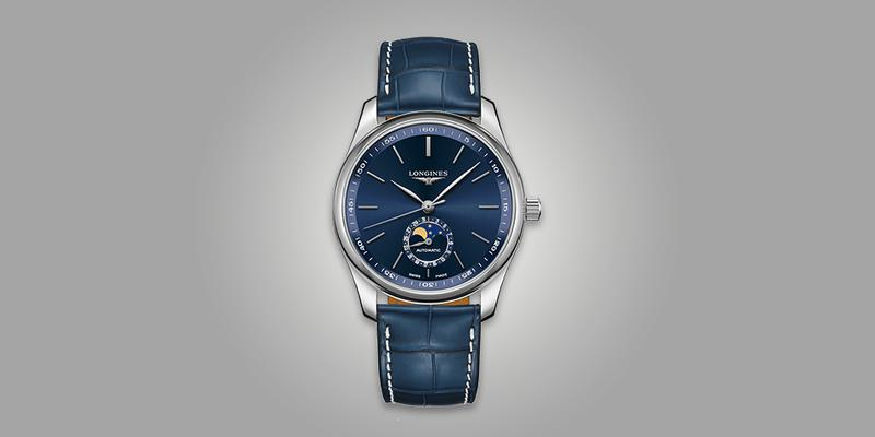 Longines Master Moonphase blue dial and blue leather strap