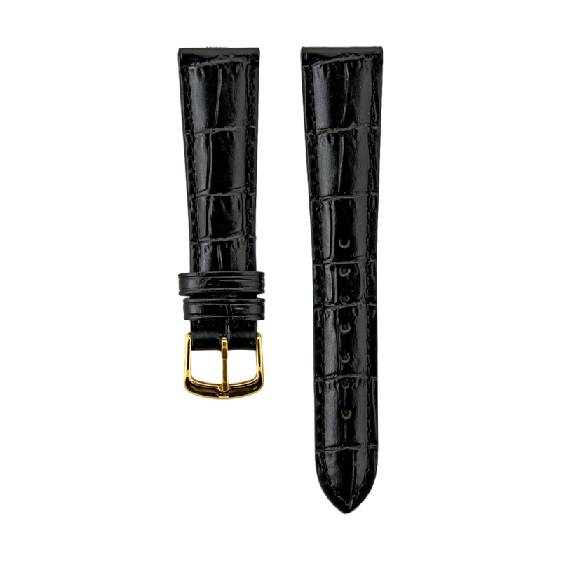 Black Alligator Grain - Genuine Italian Calfskin Strap Gold Buckle