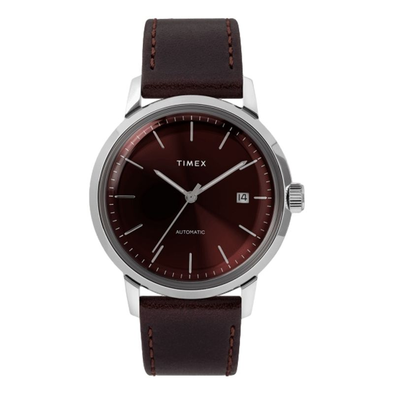 Marlin Automatic 40mm Leather Strap Watch Burgundy Dial