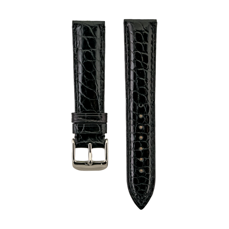 Short Black Genuine Shiny Alligator