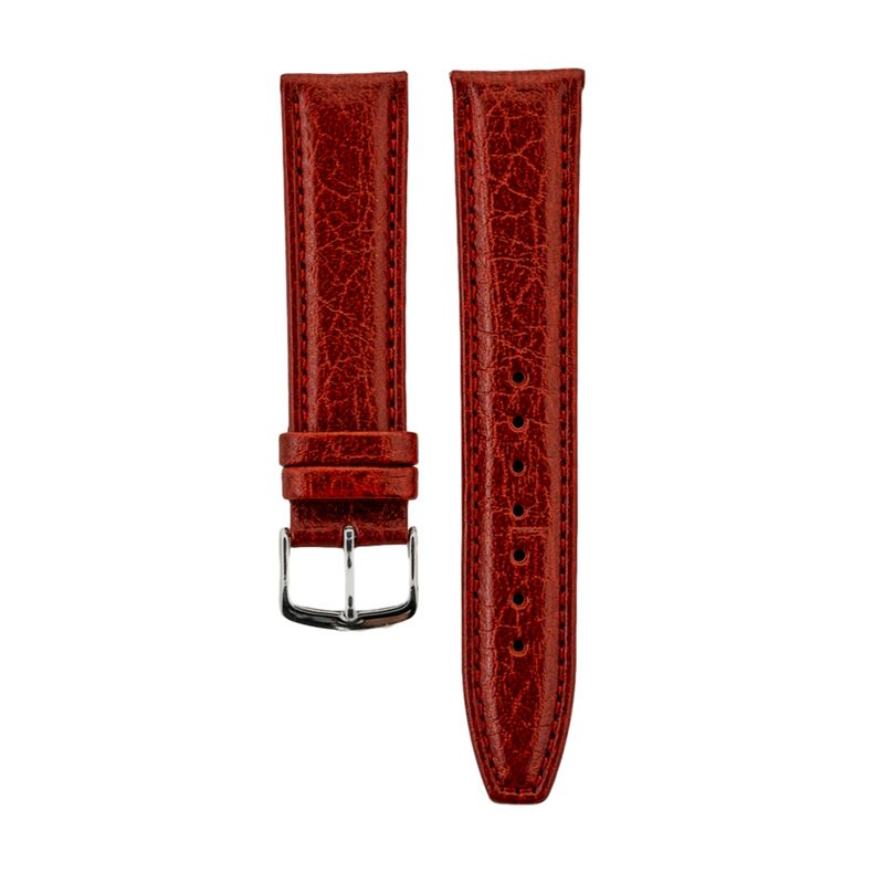 Red Shrunken Grain Genuine Italian Leather Strap