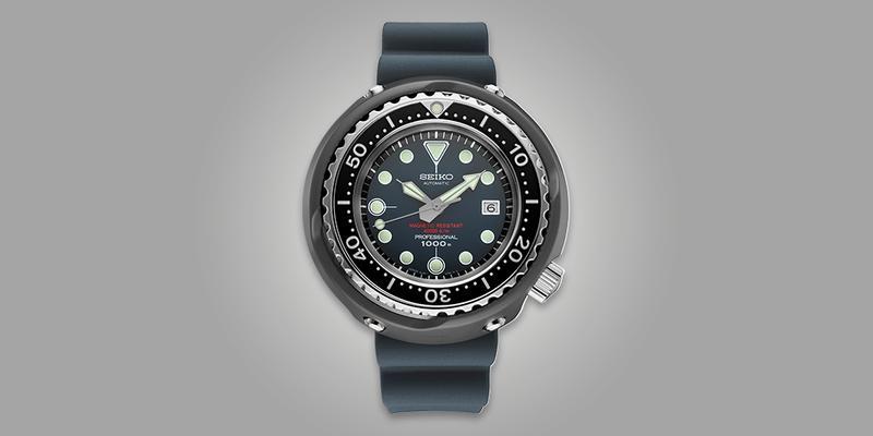 Seiko SLA041 Diver Tuna can blue dial rubber strap