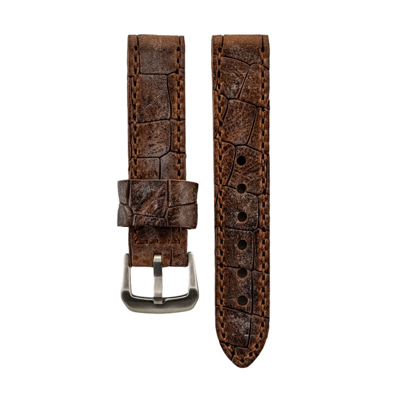 Brown Textured Genuine Oil Tan Leather Strap