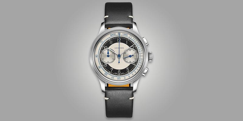 Longines Heritage chronograph bi compax white and black dial leather strap