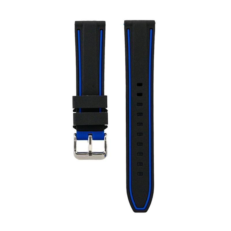 Dual Compression Silicone - Black Strap - Blue Colored Lining