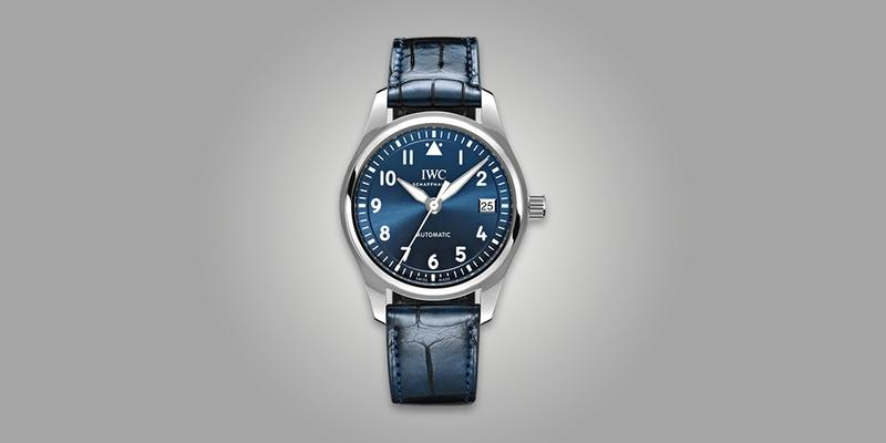 IWC 36mm Pilot's watch blue dial and leather strap