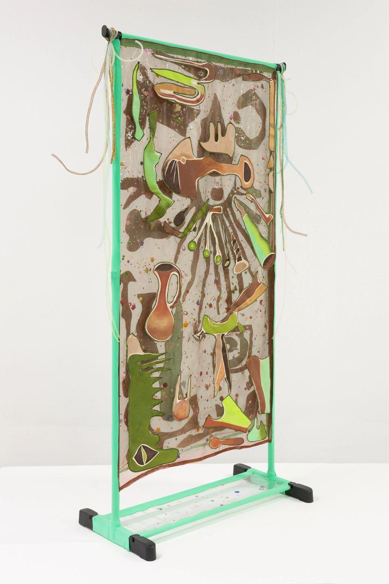 Ana Navas, Fishbowl,2019, clothing rack, fabric, acrylic,160 × 80 × 4 cm, photo: Diego Torres