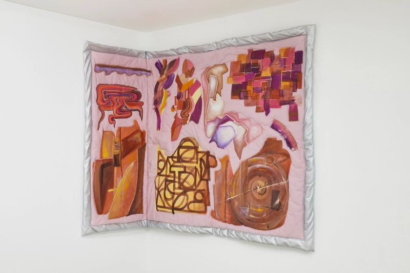Ana Navas, Tara IV, 2019, acrylic, fabric, fake leather,126 × 187 cm