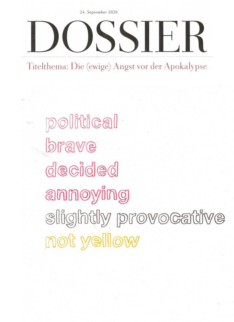 Dossier, Titelblatt und Inhaltsverzeichnis, 2021, digital collage