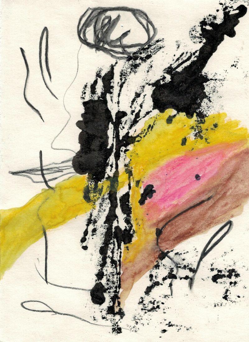 Landschaft bei Pappelwerda, 2021, ink, watercolor and pencil on paper, 21 × 14,8 cm