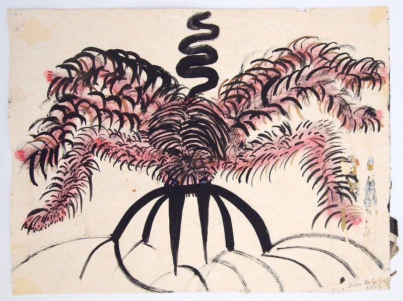 Anna McCarthy, Hairy Spider, 2015, gouache ink on paper, 30.5 × 41 cm,