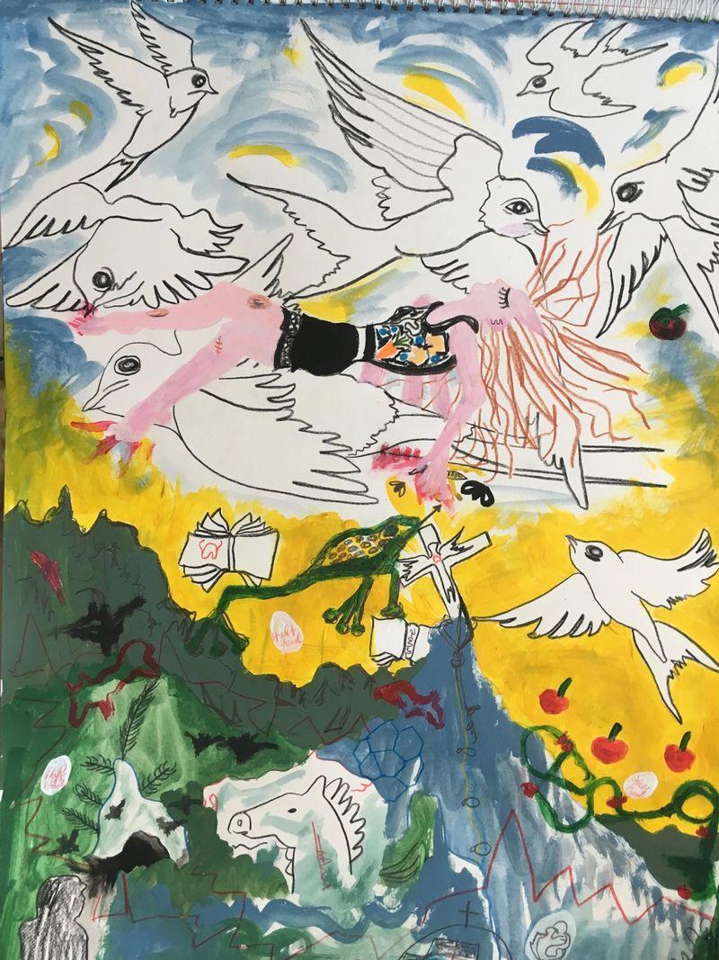 Anna McCarthy, Swallows Fly On High, 2020, pencil and acrylic on paper, framed, acrylic on glass, 70 × 50 cm
