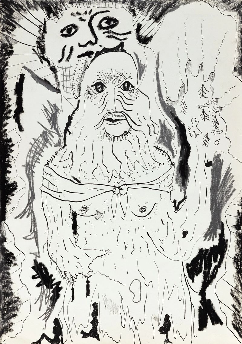 Anna McCarthy, Hairy Hermitess, 2021, ink, pencil and crayon on paper, 30 × 21 cm, photo: Sebastian Kissel