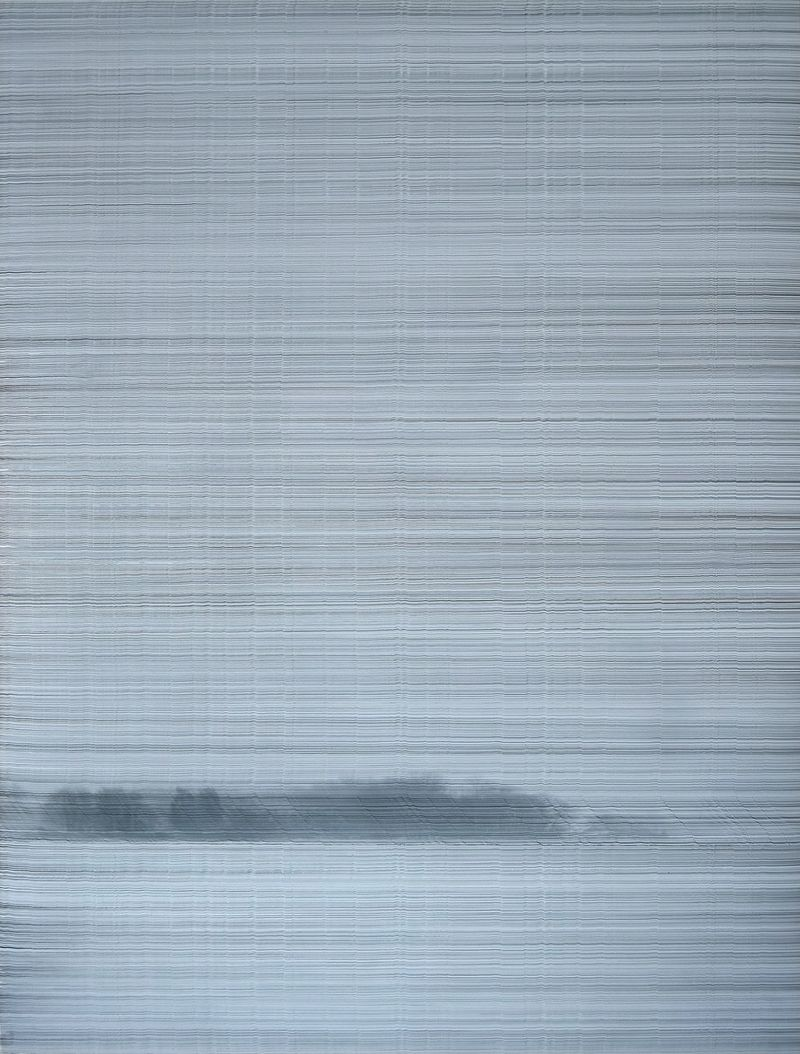 Anna Vogel: Earth Records II, 2021, indian ink on pigment print, frame finished in dusty gray, 80 × 60 cm, photo: Sebastian Kissel