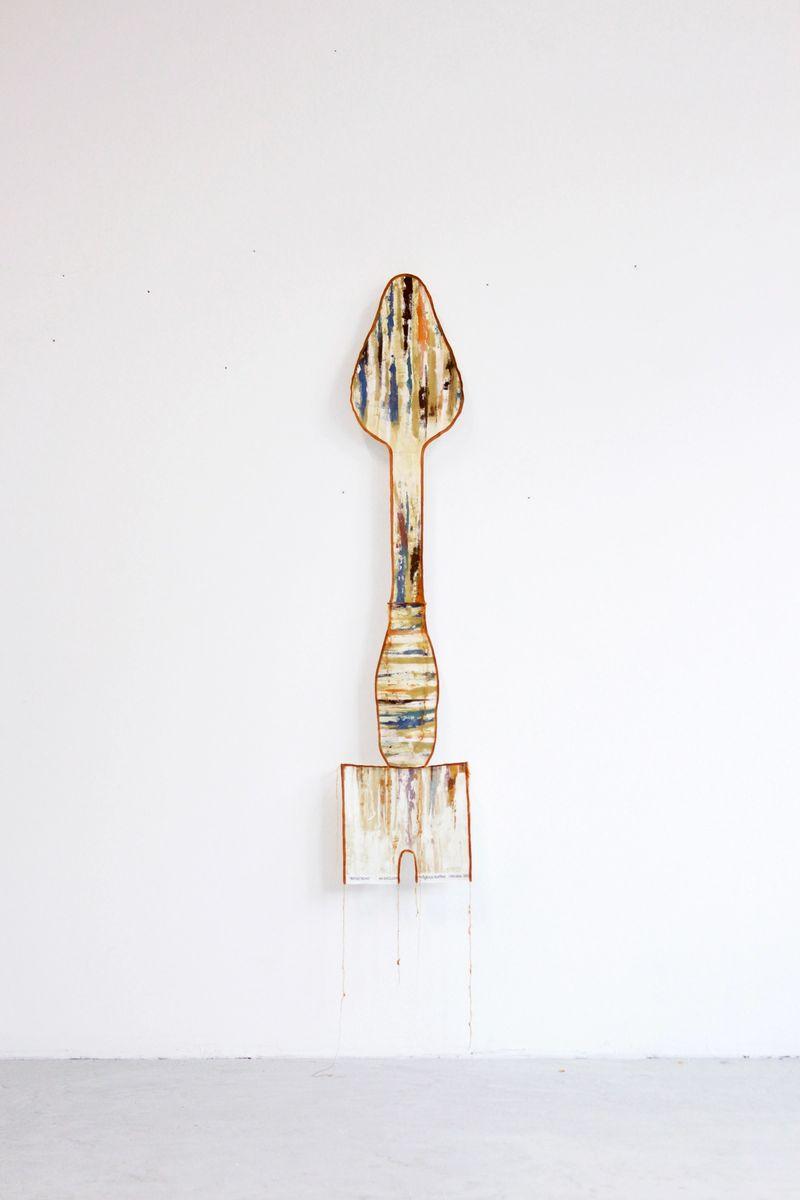 Ana Navas, Work in process (Shovel), 2021, fabric, acrylic, photo: Berke Gold