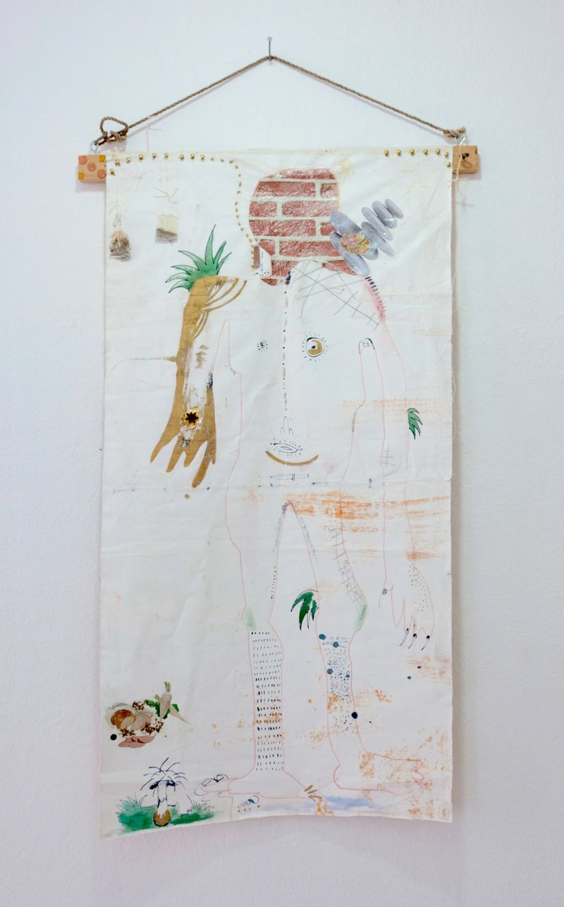 Anna McCarthy, Onuphrius, 2017, ink, paper collage, mixed media on canvas, 140 x 65 cm