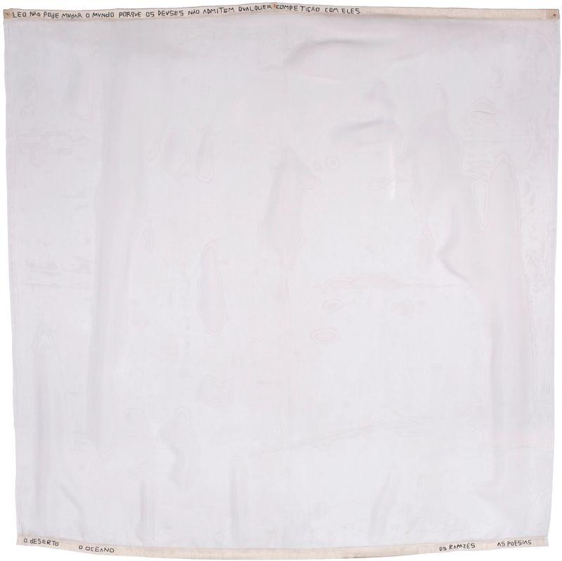 Leonilson (1957 Fortaleza–1993 São Paulo), ,Leo não pode mudar o mundo / Leo can´t change the world,,, ,1991, Embroidery / thread and canvas on voile, Unframed 140,5 × 141 cm, Acrylic frame 154 × 154 × 6 cmCourtesyPrivate Collection, São Paulo
