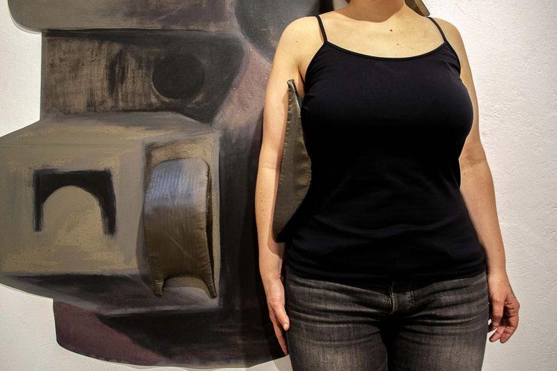 Ana Navas, Waist Pad (after Moore) (Detail), 2018, pvc, acrylic, fabric, foam, plastic,140 × 100 cm