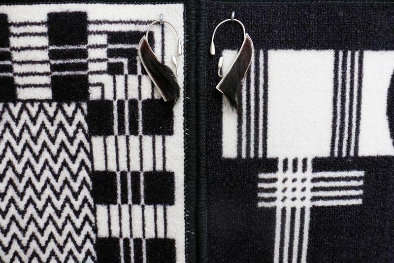 Ana Navas, Patilleras(Detail), 2018, carpet, cardboard, fabric, leather, silver,130 × 104 cm