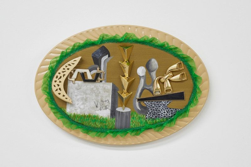 Ana Navas, Vandalism, 2019, plastic plate, acrylic, fabric, trinket,20 × 30 cm