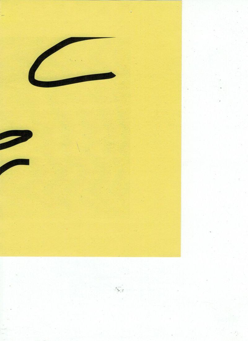 Malte Zenses, Scan von einem gelben Blattpapier, 2021, laser print on paper, 21 × 14,8 cm