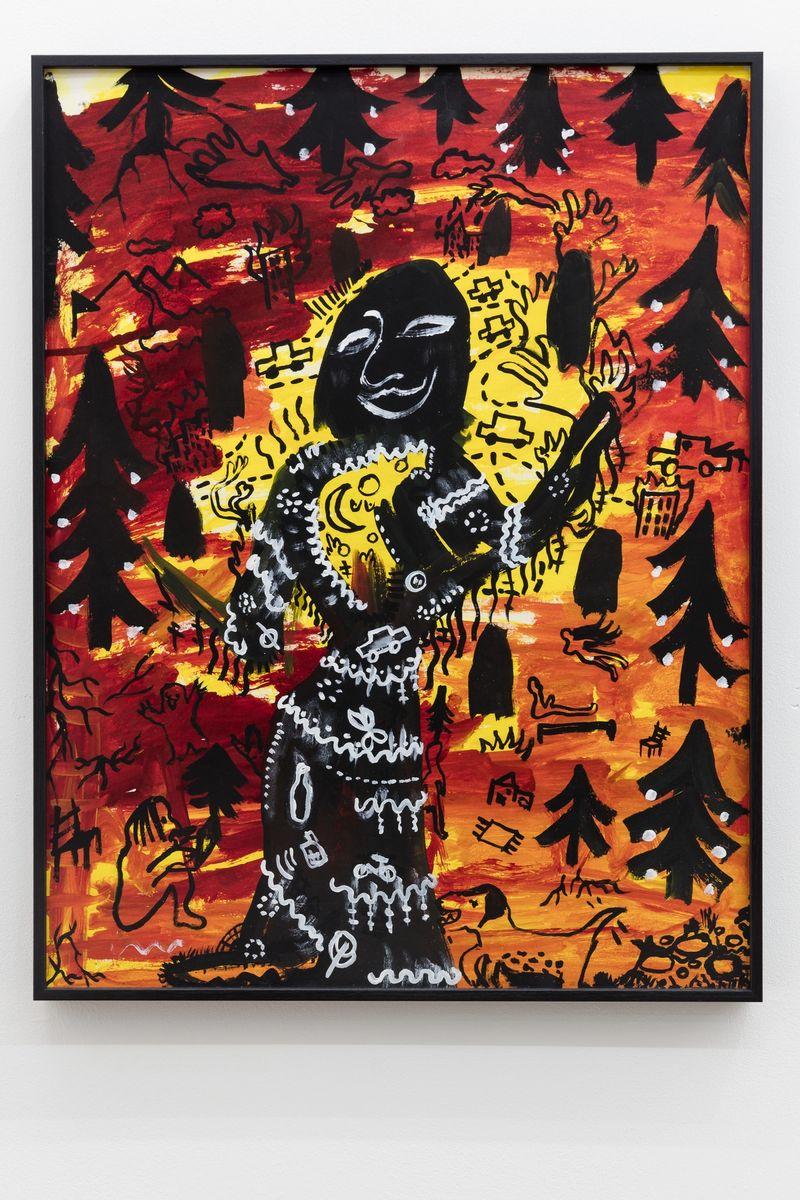 Anna McCarthy, Hexe im Wald, 2018, ink, acrylic on pasteboard, 65.5 × 50.5 cm