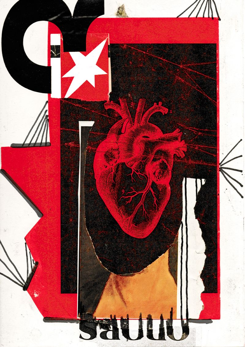 Anna McCarthy, Heart Head, 2006, collage and permanent marker on paper, 30 × 20.9 cm