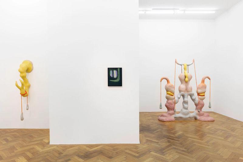 Exhibition view: Veronika Hilger und Zsófia Keresztes, VARIOUS OTHERS 2021 (in collaboration with Gianni Manhattan, Vienna), photo: Sebastian Kissel
