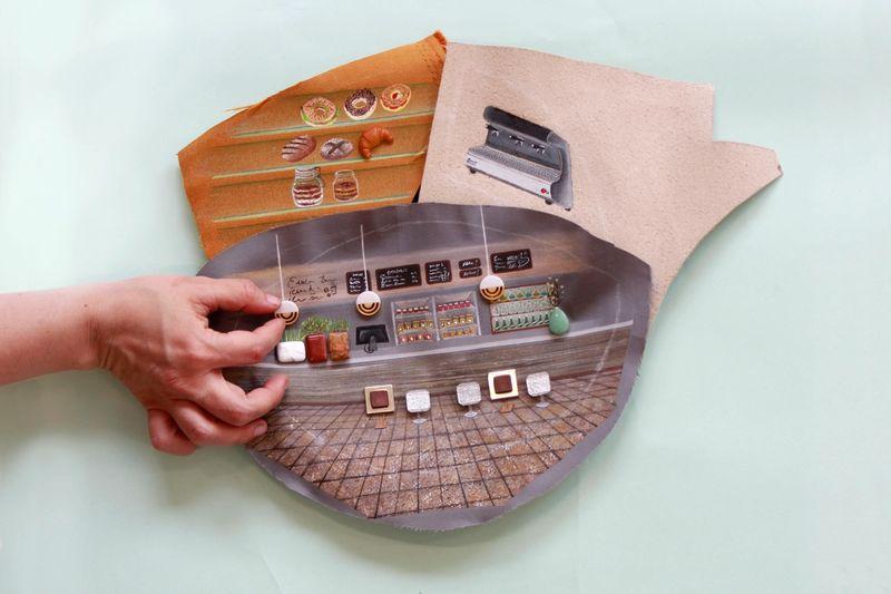 Ana Navas, Plates(in Process), 2021, plastic plate, acrylic, fabric, trinket, 27,5 cmØ, photo: Berke Gold,