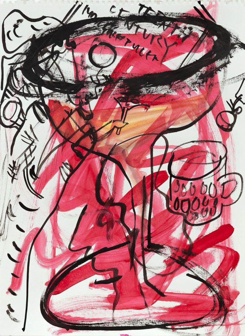 Anna McCarthy, Campari, 2021, ink and gouache on paper, 47 x 36 cm, photo: Sebastian Kissel