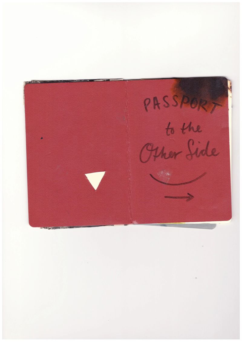 Anna McCarthy, PASSPORT to the Other Side, mixed media, 12.5 × 8.5 cm