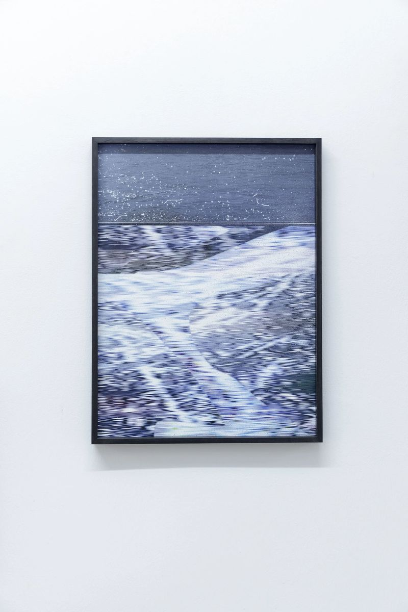 Anna Vogel, Wolf song, 2021, Lacquer on pigment prints, frame stained in dark anthracite, 40 x 30 cm, photo: Sebastian Kissel