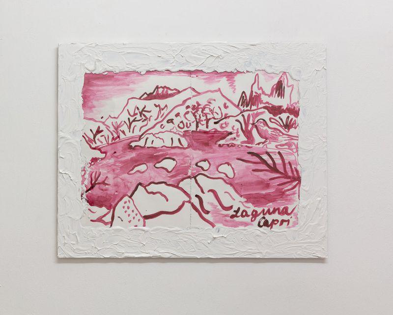 Anna McCarthy, Laguna Capri, 2019, gouache on paper, acrylic on glass, 40 × 50 cm
