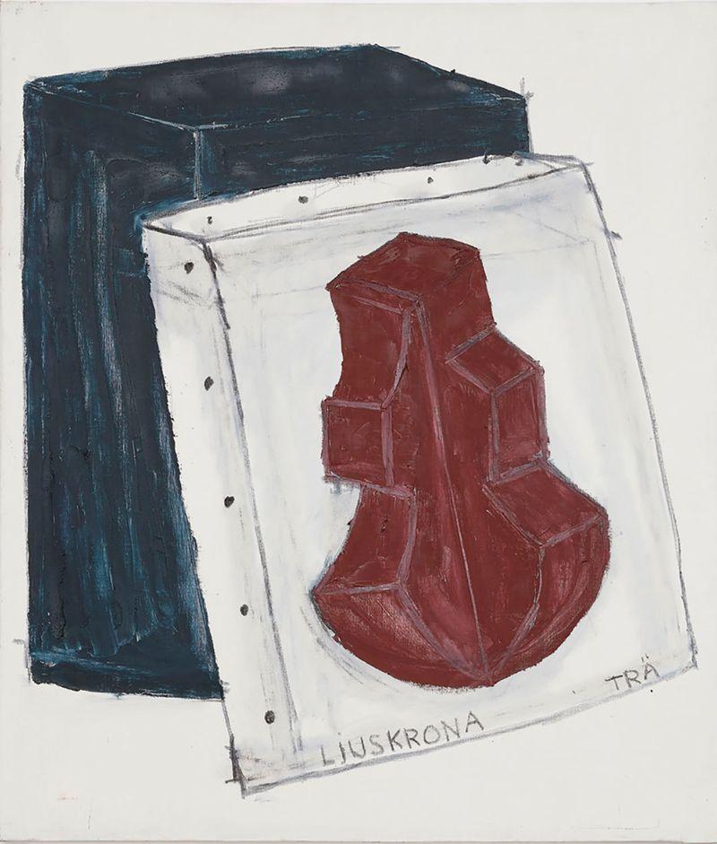 Torsten Andersson, Ljuskrona av trä [Chandelier of Wood], 1980-1989, Oil on canvas, 150 × 130 cm, Courtesy the artist and Galerie Nordenhake Berlin/Stockholm/Mexico