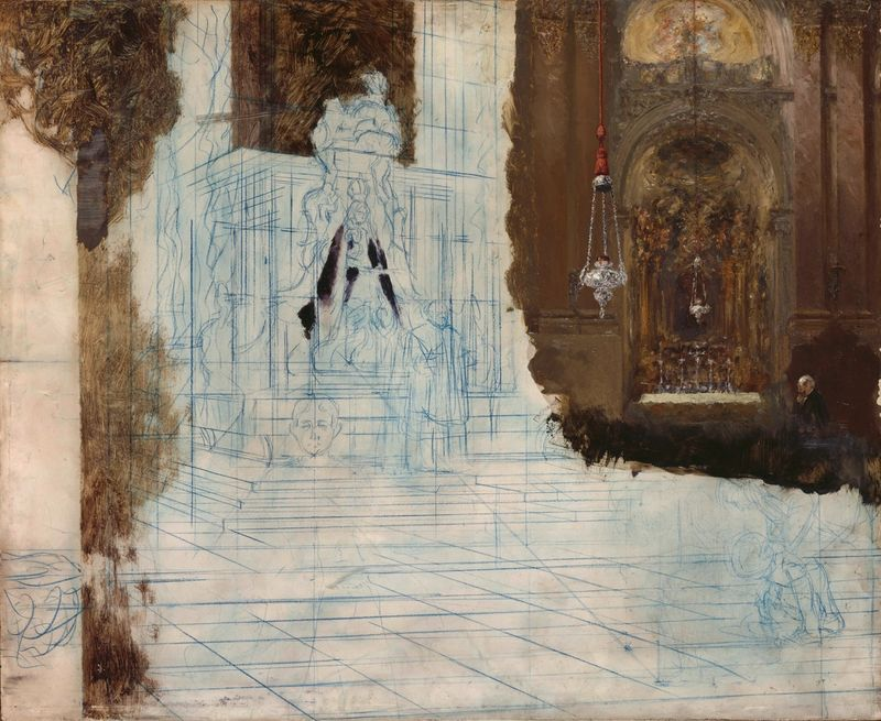 Adolph Menzel, Altar in einer Barockkirche (unfinished), ca. 1880/90, Oil over preliminary drawing in blue pencil on oak wood, 50 × 61 cm, Copyright: bpk / Nationalgalerie, SMB, photo: Klaus Göken