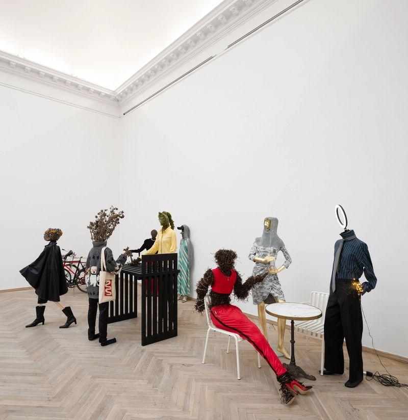 Rasmus Myrup, Salon des Refusés, 2020, Installation with clothes and natural materials at Kunsthal Charlottenborg, photo: David Stjernholm