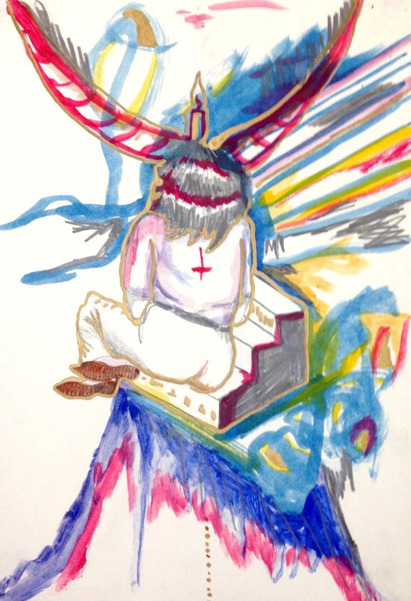 Anna McCarthy, Esprit, 2011, gouache pencil on paper, 30 × 21 cm
