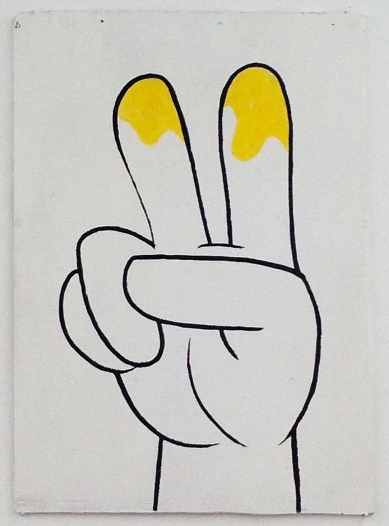 Anna McCarthy, Peece Fingers, 2016, lacquer, permanent marker and pastel on wood, 55 × 40 cm