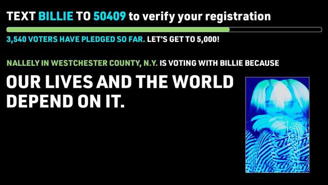 Example vote pledge for Billie Eilish
