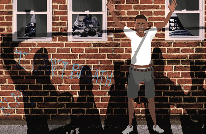 Illustration of black man with hands up in front of a brick wall with the shadows of five police officers cast over him