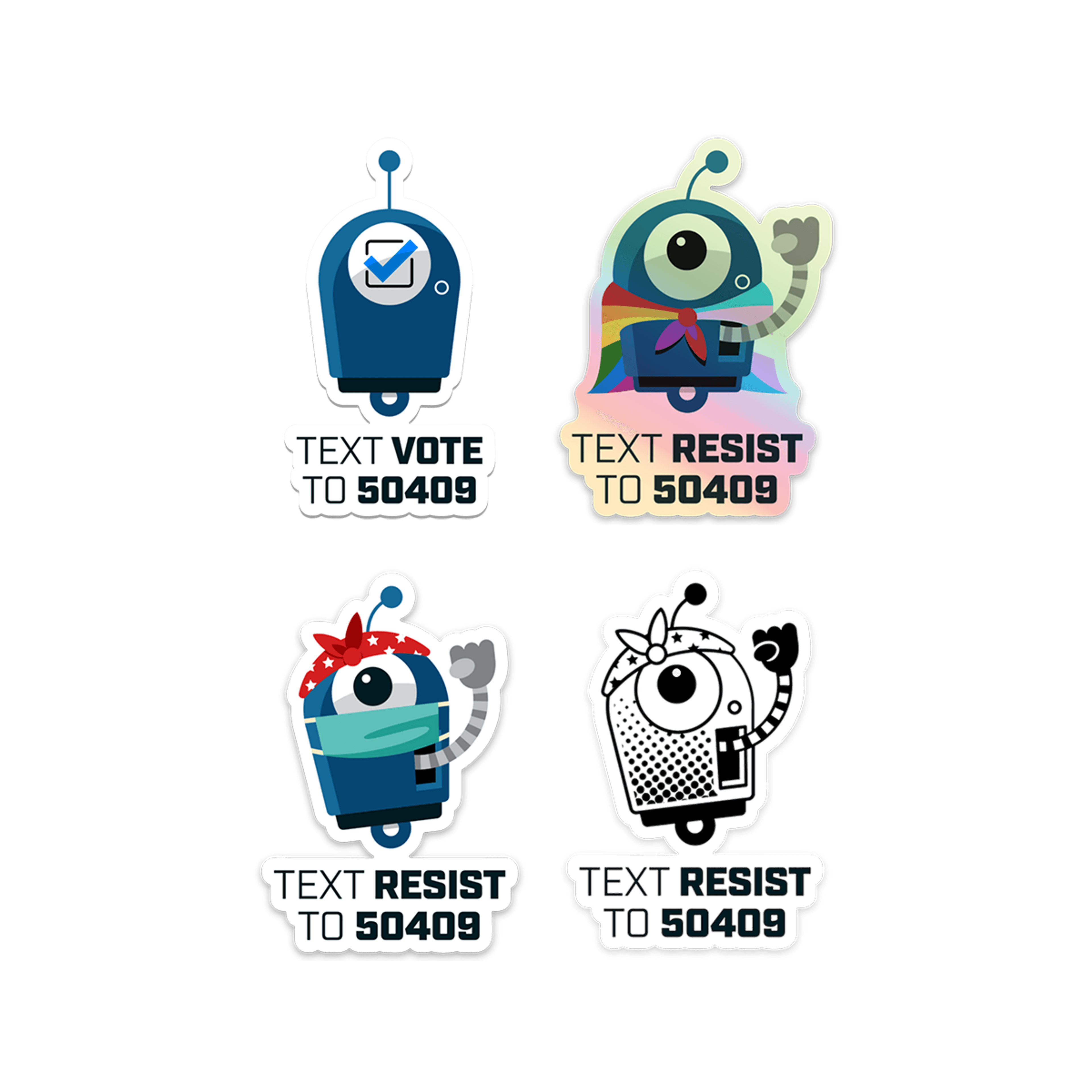 Four Resistbot stickers: vote bot, pride bot hologram, masked Rosie, and clear halftone bot.