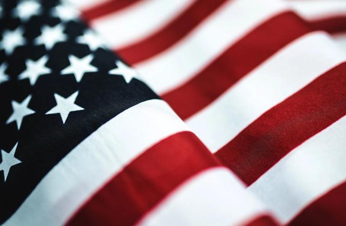 Extreme closeup of the stars and stripes of the American flag