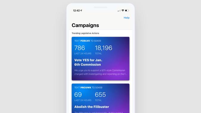 Campaign list screenshot on iOS