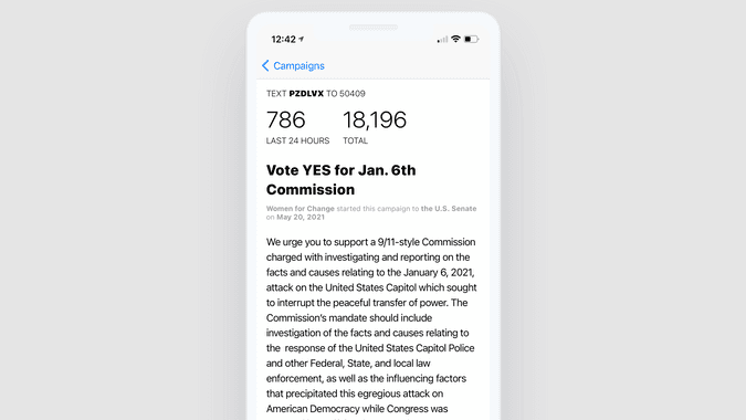 Screen shot of the campaign details UI on iOS