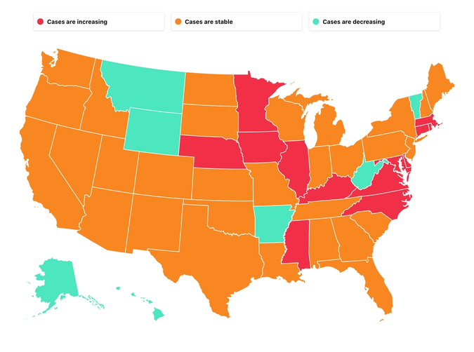 Status of the pandemic in all fifty states.