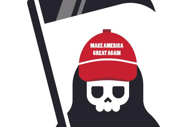 Grim reaper wearing a maga hat
