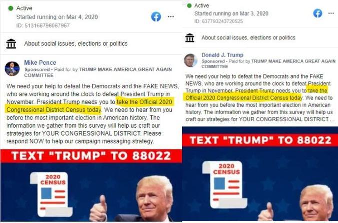 Facebook post examples of misleading census propaganda
