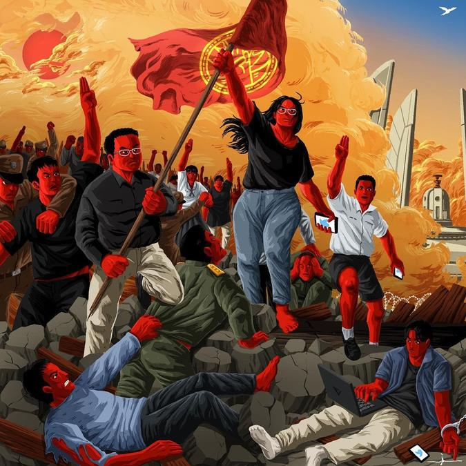 An artistic depiction of a protest in Thailand