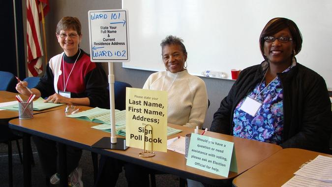 Poll workers in Madison, Wisconsin